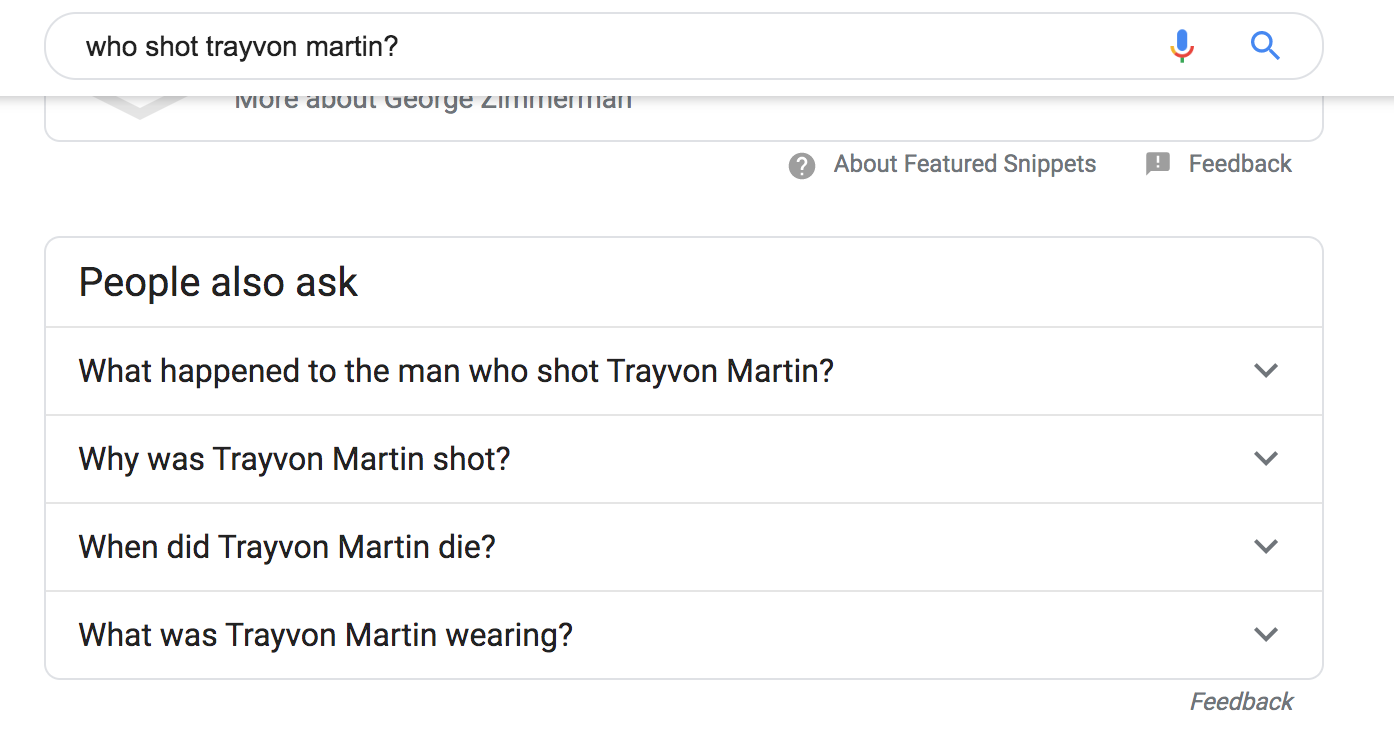 "screenshot of search results including ""people also search for: what was Trayvon Martin wearing?"""