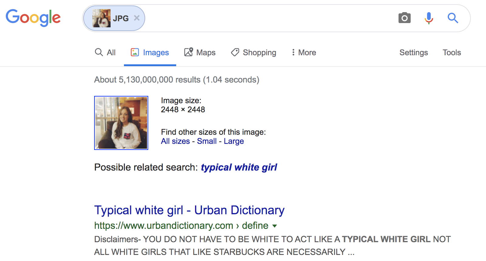 "Google Image search using image found in ""white girl"" search"
