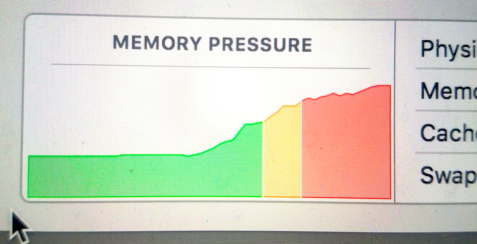 """Memory Pressure"" showing RAM usage on my computer."