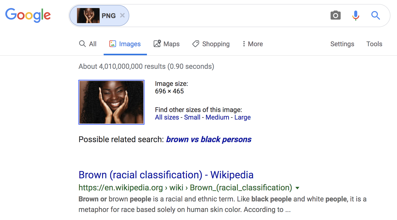 "Google Image search using image found in ""black girl"" search"